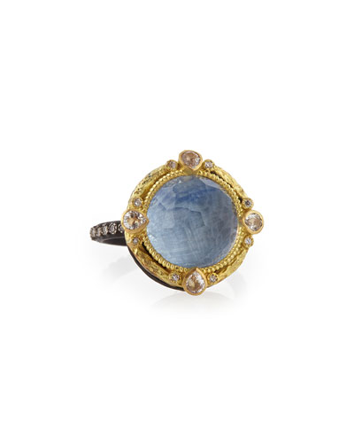 Armenta Old World Round Kyanite Midnight Ring with Diamonds