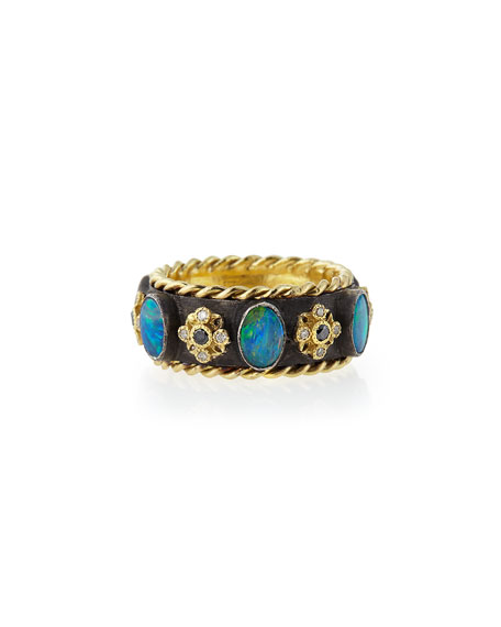 Old World Thick Stackable Band Ring with Opals & Diamonds