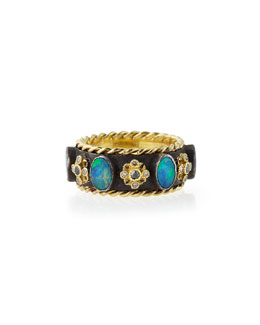 Armenta Old World Thick Stackable Band Ring with Opals & Diamonds