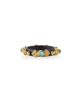 Armenta Old World Midnight 3mm Green Turquoise Stackable Band Ring