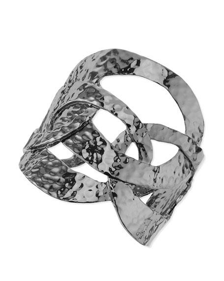 Hammered-Ring Cuff Bracelet, Hematite