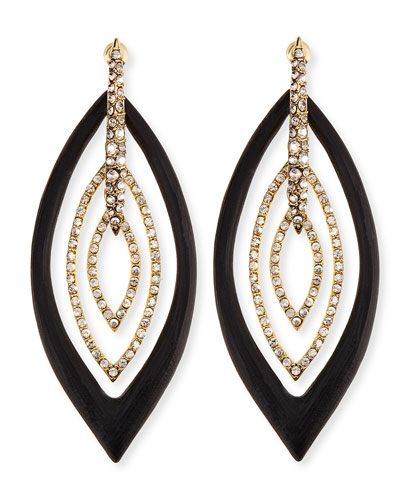 Alexis Bittar Pave Crystal & Lucite Orbital Post Earrings