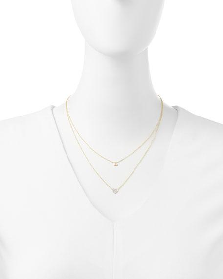 14k Polished Initial & Diamond Heart Charm Necklace