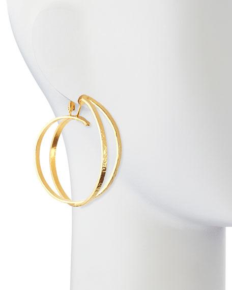24k Gold Plated X Hoop Clip-On Earrings