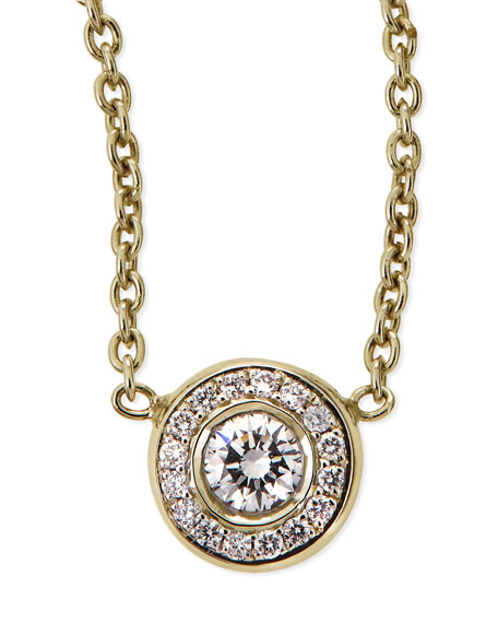 18k Yellow Gold Pave Diamond Pendant Necklace