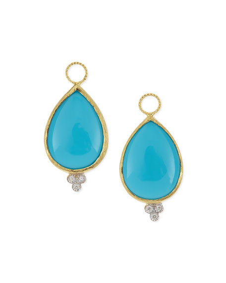 Jude Frances Large Pear Turquoise Earring Charms with Diamonds BFiQMdIBY