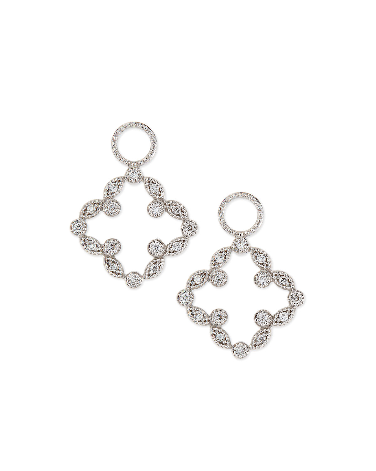 Open Marquise Pave Diamond Clover Earring Charms