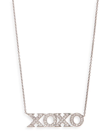Roberto Coin 18k White Gold Diamond Xoxo Necklace