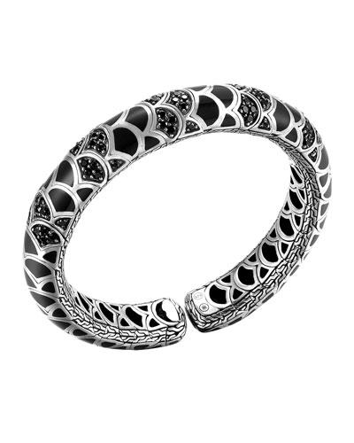 John Hardy Naga Silver Lava & Enamel Slim Flex Cuff with Black Enamel and Sapphires, Size M