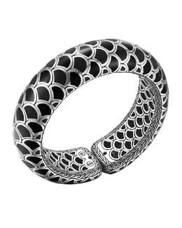John Hardy Naga Silver Enamel Scale Cuff with Black Enamel, Size M