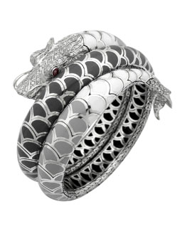 John Hardy Naga Enamel Ombre Coil Bracelet with Pave White Sapphires