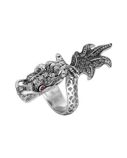 John Hardy Naga Enamel Ombre Ring with Pave White Sapphires