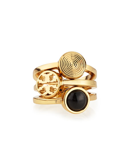 Tory Burch Livia Golden Stackable Rings, Set of 3
