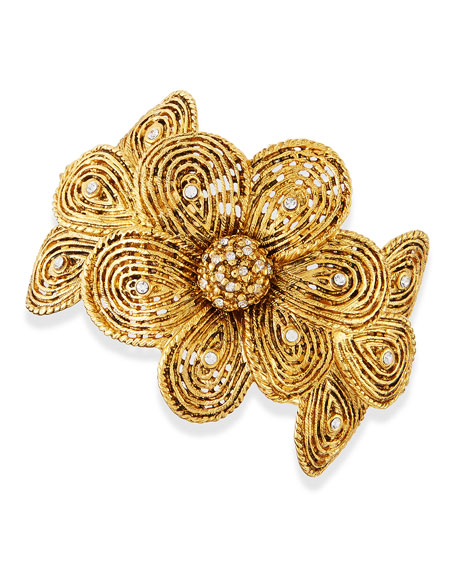 Gold-Plated Flower Bracelet with Crystals
