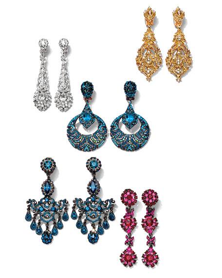 Gunmetal & Blue Crystal Chandelier Clip-On Earrings