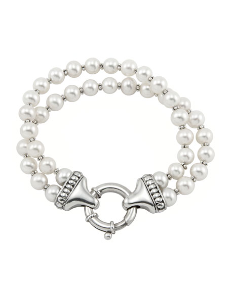 Sterling Silver Luna 2 Strand Pearl Bracelet