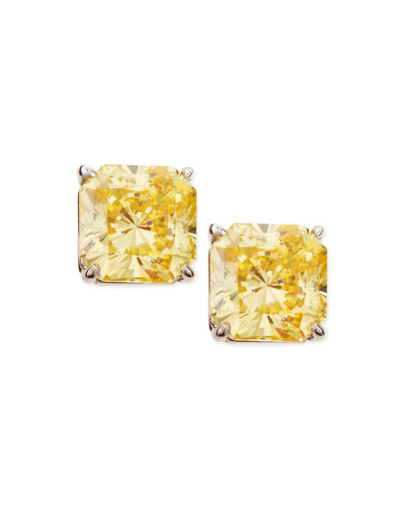 Fantasia by DeSerio Canary Cubic Zirconia Stud Earrings