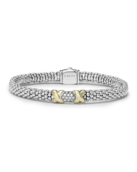 LAGOS Silver & 18k Gold Diamond Lux Small
