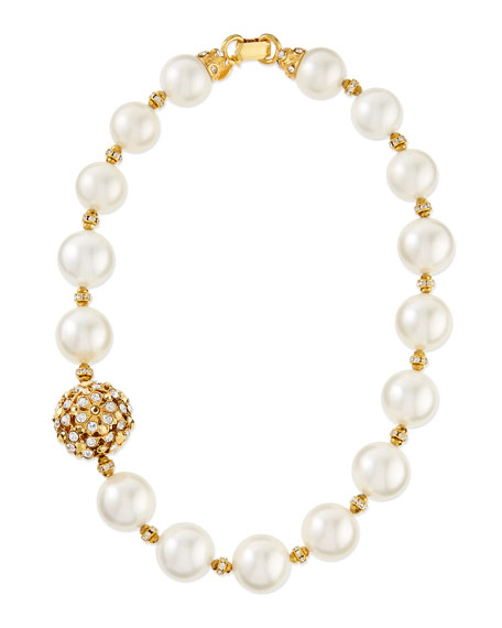 Gold-Plated & Pearl Beaded Necklace