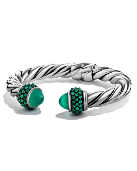 David Yurman Renaissance Reverse-Set Bracelet with Green Onyx