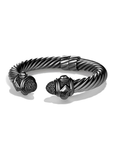 Rhodium-Plated Sterling Silver Renaissance Bracelet with Black Diamond