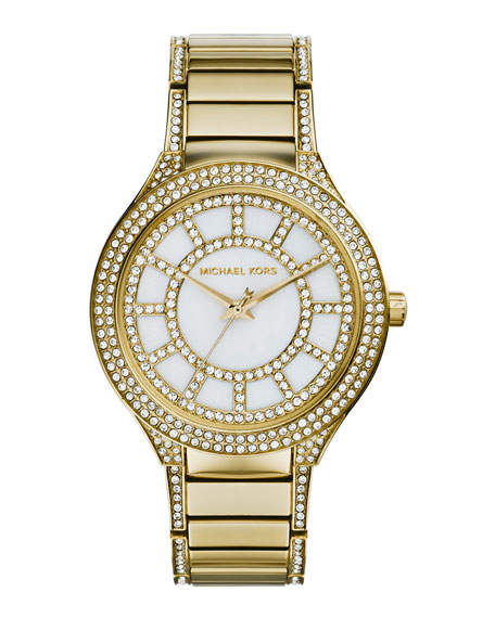 Michael Kors Mid-Size Golden Stainless Steel Kerry Three-Hand