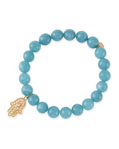 Sydney Evan 8mm Blue Quartz Beaded Bracelet with 14k Gold/Diamond Hamsa Charm