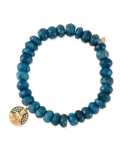 Sydney Evan 8mm Faceted Blue Chrysocolla Beaded Bracelet with 14k Gold/Diamond Buddha Charm