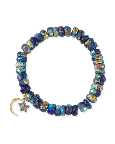 8mm Mystic Lapis Beaded Bracelet with Diamond Moon & Star Charms