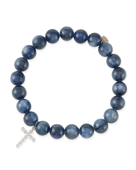 8mm Kyanite Beaded Bracelet with 14k Gold/Diamond Cross Charm
