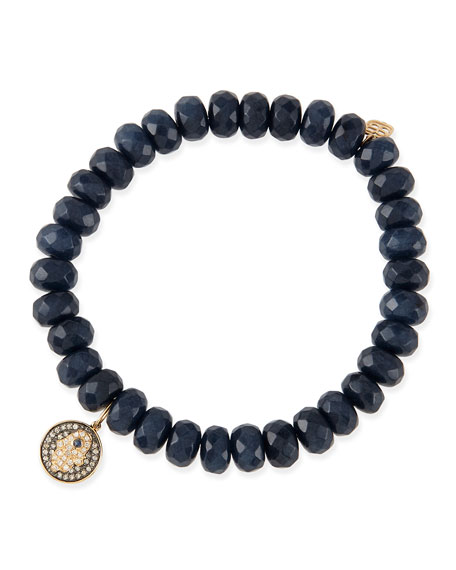 8mm Faceted Navy Jade Beaded Bracelet with 14k Gold/Diamond Hamsa Charm