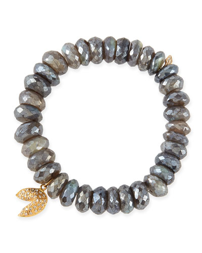 Sydney Evan 8mm Faceted Labradorite Beaded Bracelet with 14k Gold/Diamond Fortune Cookie Charm