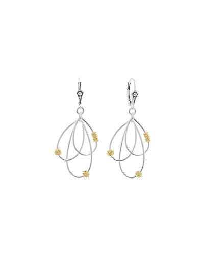 Silver & 18k Gold-Caviar Superfine Drop Earrings