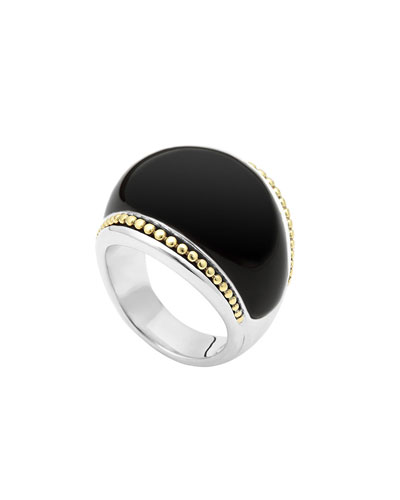 Silver Enso Smooth Dome Ring with 18k Gold