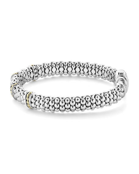 9mm Sterling Silver Enso Bar Caviar Rope Bracelet
