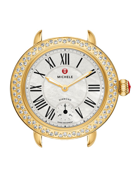 MICHELE Serein 12mm Diamond Gold Plated Watch Head,