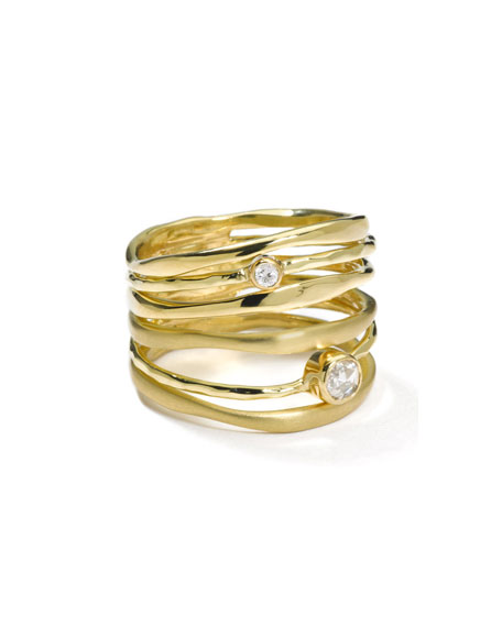 18k Gold Movie Star Diamond Stacked Ring