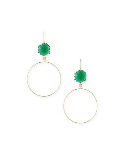 Envy Green Onyx Hoop Drop Earrings