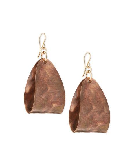 Hammered Bronze Wide Mini Hoop Earrings