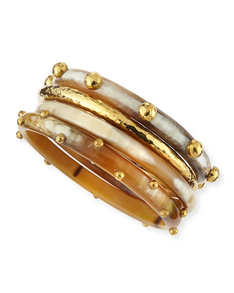 Ashley Pittman Kamata Horn & Bronze Bangles, Set of 4