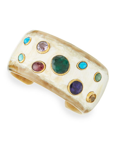 Ashley Pittman Macho Multi-Stone Cuff, Light Horn