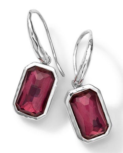 Rectangle Quartz & Lipstick Pyrite Earrings