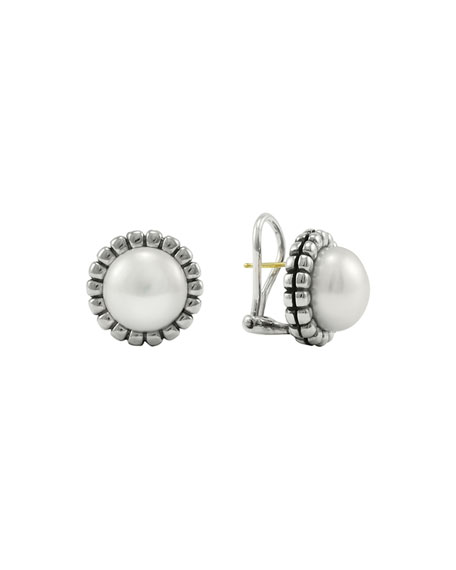 Sterling Silver Fluted Freshwater Pearl Earrings in Silver/ Pearl