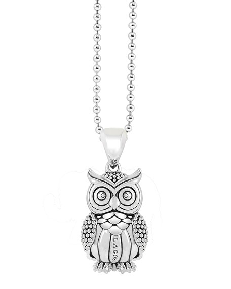 STERLING SILVER RARE WONDERS OWL PENDANT NECKLACE, 34