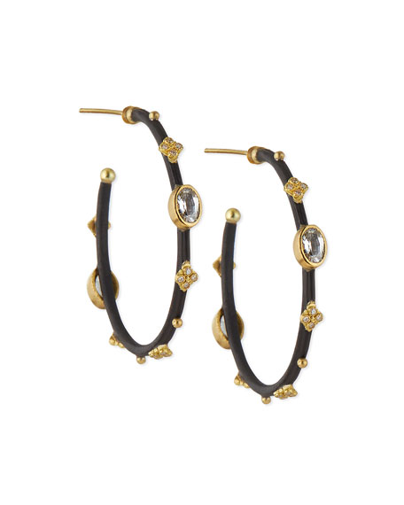 Armenta Small Midnight Hoop Earrings with Gold & Diamond Crivelli Crosses gB7jSC11