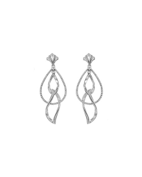 Silver Caviar Double Marquise Clip-On Earrings