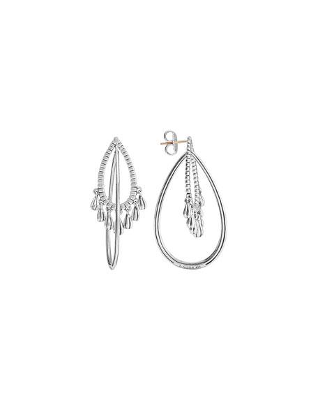 Silver Fluted Dangle Earrings