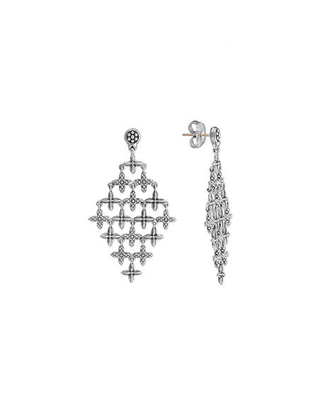 Sterling Silver Floral Chandelier Earrings
