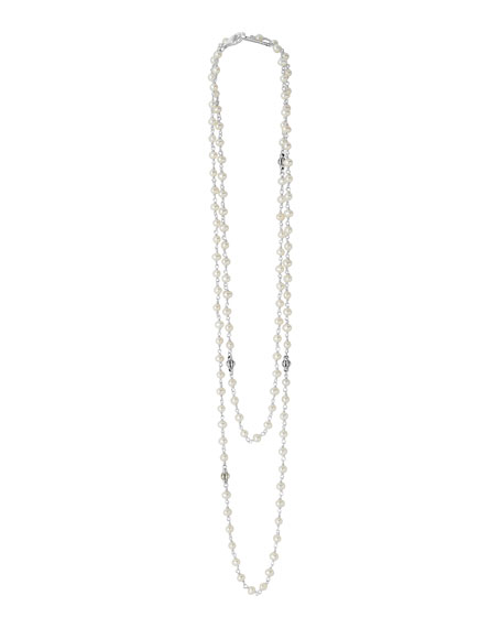 Luna Pearl Necklace with Sterling Silver, 36""