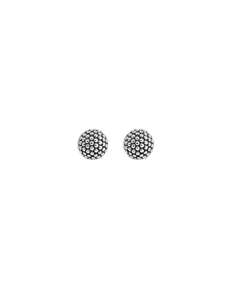 Silver Columbus Circle Stud Earrings